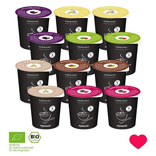 Porridge2go Probierpaket von mymuesli - 12x Bio-Porridge - 45g Portionsbecher - Hergestellt in Deutschland aus 100{b2eb145729cefa3400e174ee7e74d20f9cfbbe49a10a1f4769e1e3a349ecbf53} Bio-Zutaten