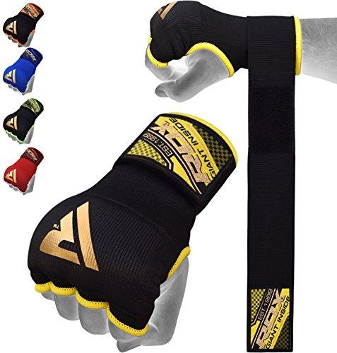 RDX Fasce Boxe Bende Per Mani Polsi Elastiche Pugilato Bendaggi MMA Guanti Interi Sottoguanti, Nero/ Giallo (Black Yellow)