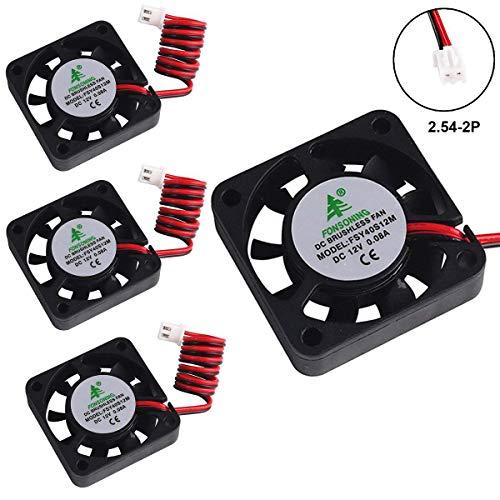 MakerHawk 4pcs 3D Drucker Fan 12V 0.08A DC Mini-Lüfter 40X40X10mm mit 28cm Kabel für 3D-Drucker, DVR und andere kleine Geräte Serie Reparatur Ersatz