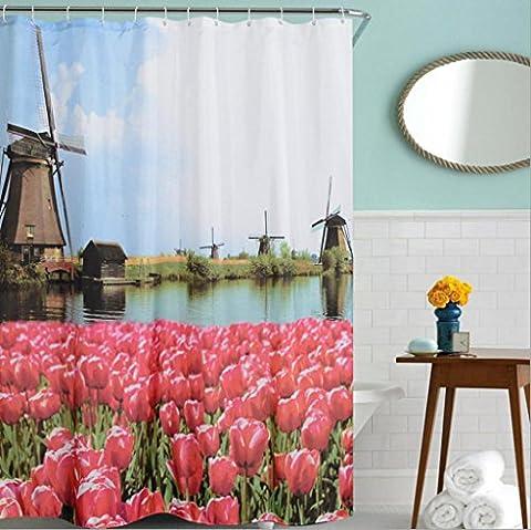 KKLL 3D Tulip impression numérique Polyester Rideau de douche Douche Home Decor Bath Shade Bath 180 *