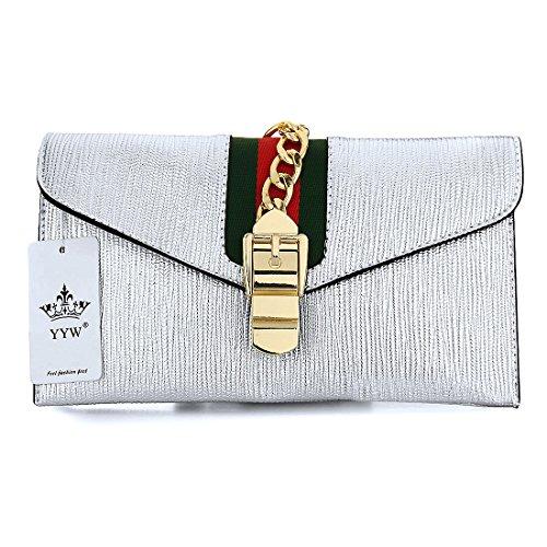 Designer Abend Umschlag Clutch Taschen Wristlet Geldbörse Cross Body Bag mit Kette Silber