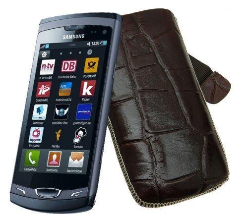 Original Suncase Echt Ledertasche für Samsung Wave 2 GT S8530 in croco-braun