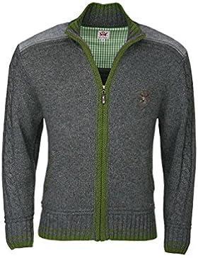 Herren Spieth & Wensky Trachten Strick-Jacke grau/grün 'Hannes', grau-grün,