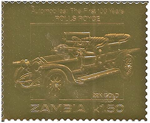 22 Carat Gold Foil stamp commemorating the first 100 years of Automobiles - Rolls Royce (Francobollo Anno Set)