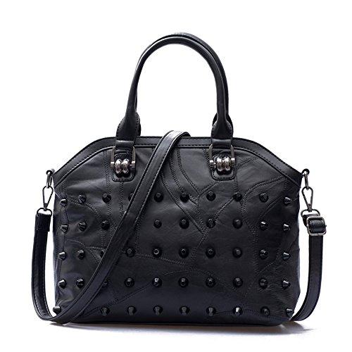 Mefly Die neue Mode Leder Umhängetasche Messenger Bag black