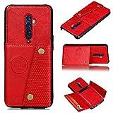 Redcolourful for Oppo A9 2020/Realme XT/Reno 2 Mobile Phone Shell Classic Textured Pattern Buckle Closure Design Anti-Fall Smartphone Case red Oppo Reno 2