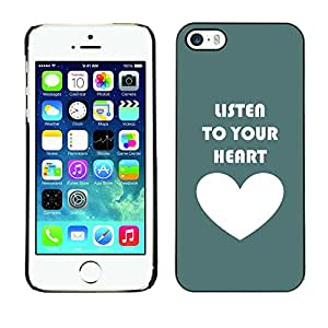 Omega Covers - Snap on Hard Back Case Cover Shell FOR Apple iPhone 5 / 5S - Green White Heart Listen Text Love Teal