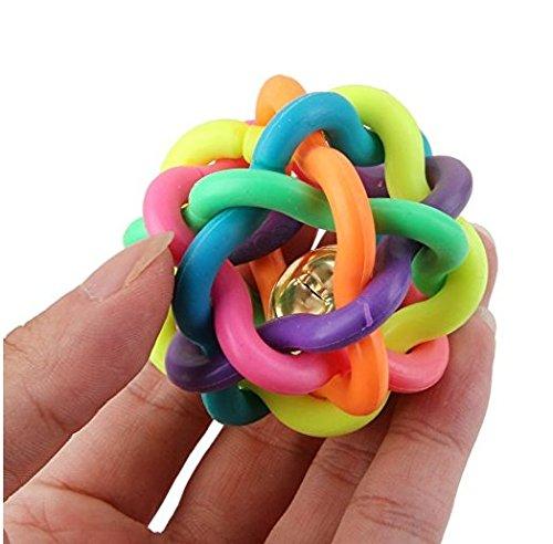 yeah67886Funny für kleine Hunde/Welpen Hamster Kauen Spielzeug geknotet Gummi Ball mit Glocke -