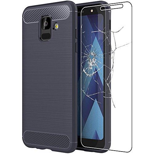 ebestStar - Compatibile Cover Samsung A6 Galaxy 2018 SM-A600F Custodia Protezione Silicone Gel Design Fibra di Carbonio Anti Scivolo, Blu Scuro + Vetro Temperato [Apparecchio: 149.9x70.8x7.7mm 5.6\'\']