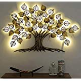 Mahalaxmi Art Handcrafted Iron Wall Hanging Big LED Gold Tree for Home Living Room Wall