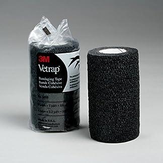 3m Vetrap 10cm x 4.5m. Pack x 4 Bandages. Cohesive Horse Wrap (Black) 14