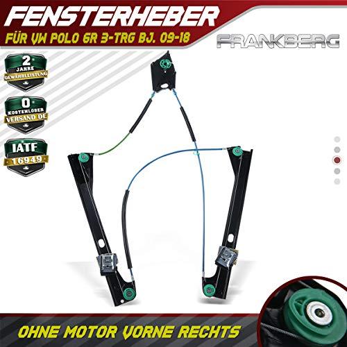 Frankberg Fensterheber Elektrisch Ohne Motor Vorne Rechts für Polo 6R Nur für 3-TRG 2009-2019 6R3837462A