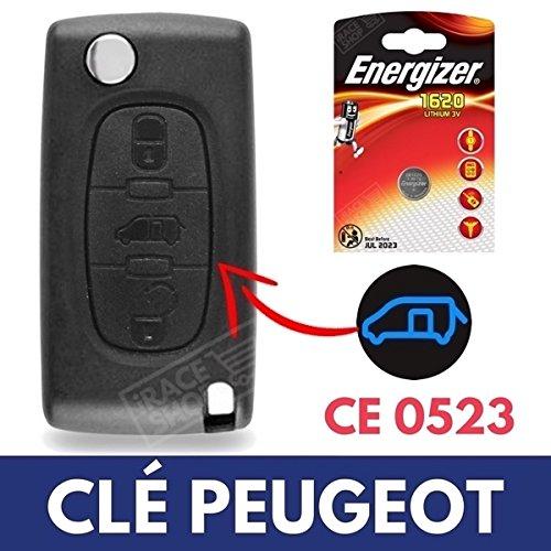 Caja 3botones para mando a distancia llave Peugeot Expert | Partner | Tepee | Bipper ✚ pila CR1620Energizer
