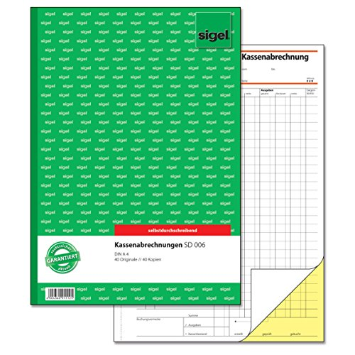 Sigel SD006 Kassenabrechnungen A4, 2x40 Blatt, selbstdurchschreibend, 1 Stück