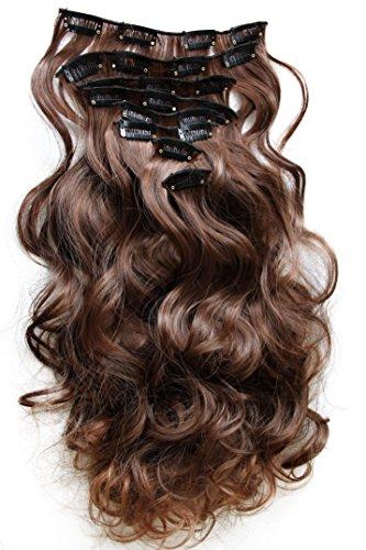 PRETTYSHOP XXL 60 cm 8 teiliges SET Clip In Extensions Haarverlängerung Haarteil hitzebeständig braun mix #4T30 CES12-1