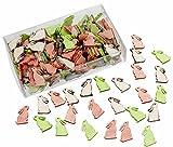 144 Stk. Hasen 2cm HOLZ weiss rosa grün Deko Osterhasen Häschen Basteln Osterdeko dekorieren Ostern Holzhasen