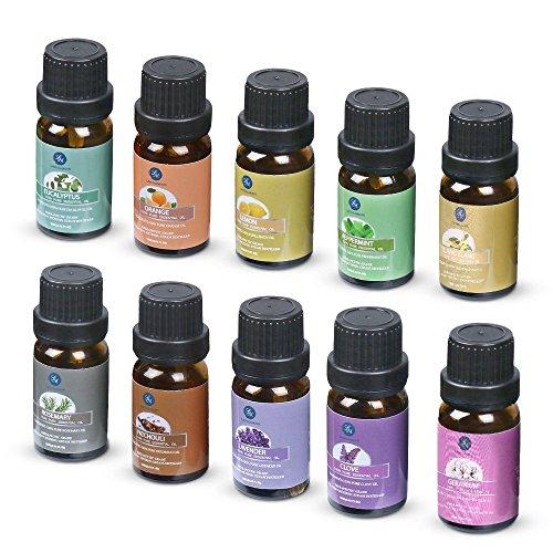 Lagunamoon Essential Oils,Top 10 Pure Aromatherapy Oils Gift Set- Includes Lavender Orange Peppermint,Lemon,Rosemary Essential Oil