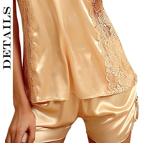 Dolamen Damen Satin Schlafanzug Nachthemd Negliee, Spitze Sleepshirt Schlafanzug, Luxus und Attraktiv Ladies Kurz Nachtwäsche Nachtkleid Lingerie Pyjamas Sleepwear Gold