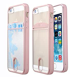 iPhone 5SE Case, Case Art Plus Slim & Strong Clear Plating TPU Gel Shockproof Case Cover for iPhone 5/5S/5SE with Card Holder (Rose Gold)