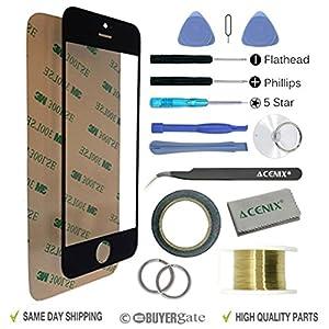 Acenix Ersatzteile-Set für Apple iPhone 5/5S/5C, 1 x Touchscreen-Abdeckung, Schwarz, mit vorderem Glas-Objektiv, 1x Rolle doppelseitiges Klebeband 2 mm, 1x Rolle goldener Molybdän-Draht, 1x Pinzette, 1x hochwertiges Reinigungstuch, 1x Saugnapf mit Sc