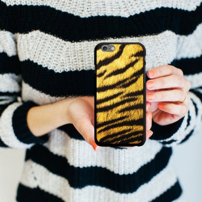 Apple iPhone 5s Housse Étui Protection Coque Animaux Aspect fourrure de tigre Motif CasDur noir