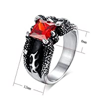Personalized Fashion Retro Alondra Inlaid Ruby Rings Mens Titanium Steel Rings Jewelry Size US9