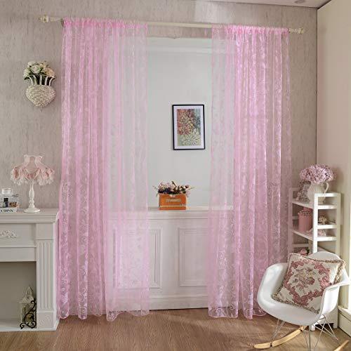 AOOPOO Vorhang Transparent, 2er 200x100CM Gardinen Set Beflockung Fenstersiebung Voile Schlaufenschal Tüll Fenster Vorhang Garn für Schlafzimmer und Wohnzimmer, Schmetterlingsmuster (Rosa)