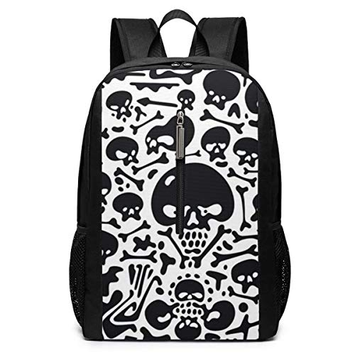TRFashion Rucksack Skulls and Bones Doodles Laptop Backpack 17 Inches Travel Gym Bag Yoga Bag School Bag Book Bag for Men Women Teenagers (Coach Book Bag)