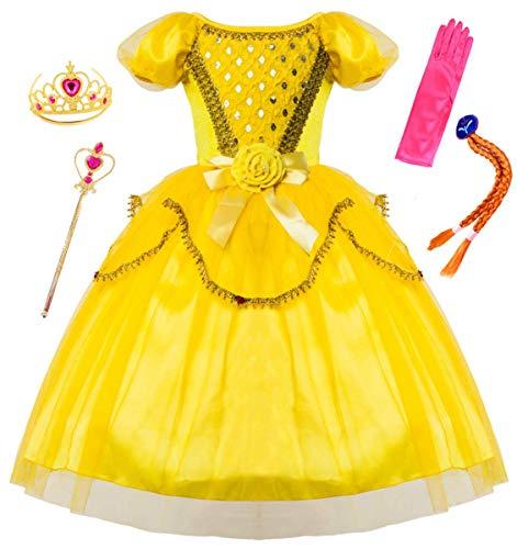 LCXYYY Mädchen Prinzessin Belle Retro Pailletten Tüll Kostüm Karneval Verkleidung Party Kleid Cosplay Faschingskostüm Weinachten Halloween Kostüme Set aus Diadem, Handschuhen, Zauberstab und ()