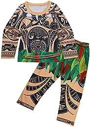 CHICTRY Pijama Niños Niñas Conjunto Verano Divertido Disfraces Maui Vaianas Bebes Niños Camiseta Pantalon Ropa