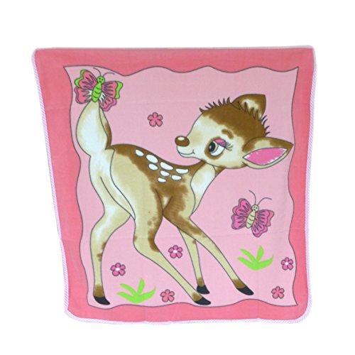 Tolle Baby Fleecedecke ~ Reh Kitz rosa ~ Decke Kuscheldecke Babydecke Mädchen