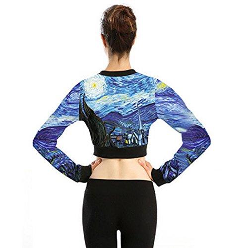 Vertvie Damen Hoch Taille Kurze Jacke Printed 37cm Lang Mehrfarbig-5