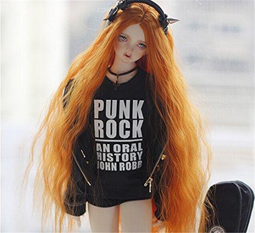 Tita-Doremi Ball-jointed Doll BJD Perücke Puppen Haarteil Für 1/3 8-9 inch Dollfie Volks Pullip Blythe Obitsu60 SD13 17 DOD DDM DDL DD AOD ICY JECCI Luts AE DZ Dal Doll Orange Wavy Long toy Head Wig Hair 1/3 8-9 inch 22-24cm (Perücke Nur,Keine Puppe ) (Smart Doll)