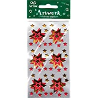 Red Gold Xmas Stars Craft Embellishment Christmas And Festive Card Topper Scrapbooking Stickers
