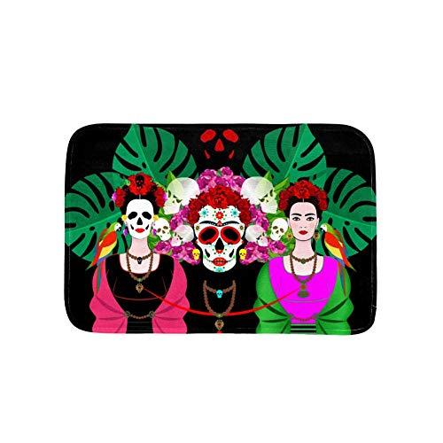 TIZORAX Cráneo Mexicano Mujeres con Hojas Tropicales Área de Loros Alfombra Alfombra...