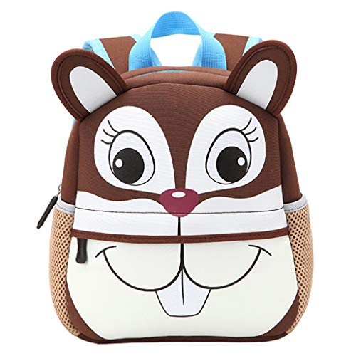 Preisvergleich Produktbild JAGENIE Cute Kid Toddler Kleiner Rucksack Kindergarten Schultasche 3D Cartoon Tier Tasche Kaninchen,  Eichhörnchen,  21x8x26cm / 8.27x3.15x10.24