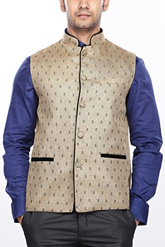 BLACKTIE Men Woven Khaki Nehru Jacket  available at amazon for Rs.749