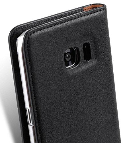 Apple Iphone 7 Plus Melkco Premium Cowhide Leather Herman Series Book Style Case mit Premium Leder Handcrafted Guter Schutz, Premium-Gefühl-Schwarz Italian Black/Italian Black