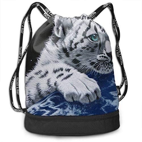 hen,Turnbeutel,Daypacks, Drawstring Backpack Bundle Gym Bike Duffel Bag Knapsack Fashion Waterproof Sport Bag for Men Woman School Travel Little Tiger in Space Print Pack ()