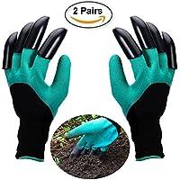 Gartenhandschuhe 2-Paar Wasserdichte Garten Handschuhe Beide Hände mit Klauen Zum Graben, Ausbreiten von Böden, Eggen, Rozen zu Beschneiden (2-Pack Freie Größe)