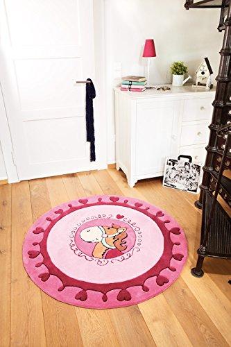 """Preisvergleich Produktbild Sigikid Marken Kinder Teppich, rosa, hochwertig mit süßem Kuschelpferd """"Kali Kalimba"""" (Ø 120 cm rund)"""