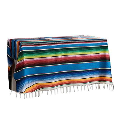 bestlle gestreifte Tischdecke mexikanische Decke Bettdecke Outdoor Tischdecke Tapisserie Picknickmatte für mexikanische Hochzeit Party Dekor, 120 * 180-Blue