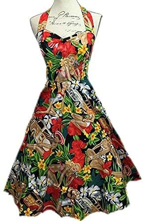 Vintage 50s Hepburn Dress Halter 1950s Style Beach Girl Print Pin Up Rockabilly Swing Dresses Skirt + Laundry Bag + Gift / Shopper Bag By BOOLAVARD (XL (16), Beach Dress)