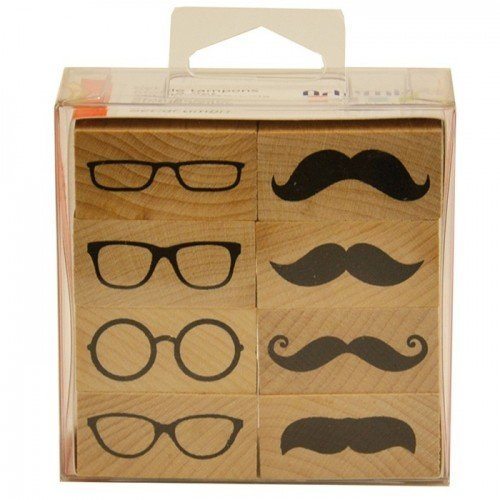 Kit 8 Holz-Stempels - Gläser und Schnurrbärte