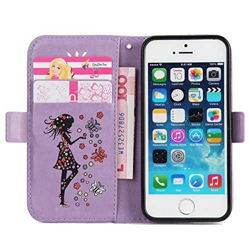 Felfy Coque Etui pour iPhone 5S,iPhone SE Coque Dragonne Portefeuille PU Cuir Etui,iPhone 5S Etui Cuir Folio Housse Rose Tournesol 3D en Relief Motif Leather Case Wallet Flip Protective Cover Etui [PU Fille Violet