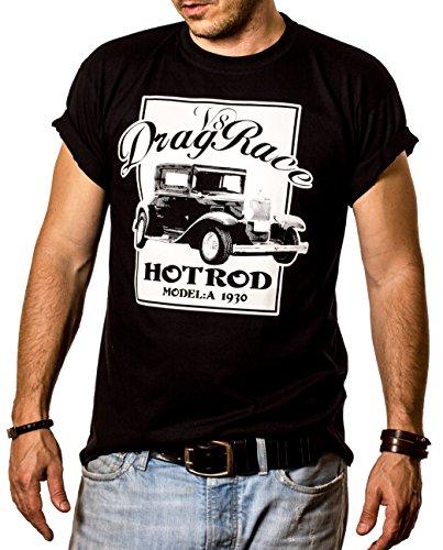 Rockabilly Hot Rod T-Shirt DRAG RACE V8 schwarz für Herren Größe S-XXXL Schwarz