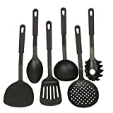 #10: Glive's Kitchen Tool Set - Ladle, Slotted Spoon, Slotted Turner, Spaghetti Server, Flexible Turner, Solid Spoon - Non Stick - Non Scratch - Nylon Cooking Utensils Set of 6 Piece