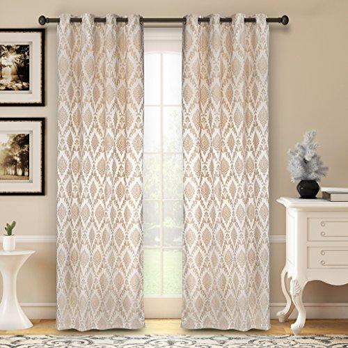 Soumya Dupion Silk Floral Pattern Premium Eyelet Curtain