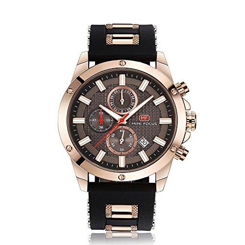 Montres Hommes Sport Montres Chronographe Mode Étanche Quartz Montre-Bracelet avec Rubber Strap Date Business Dress Montres pour Homme Or Noir