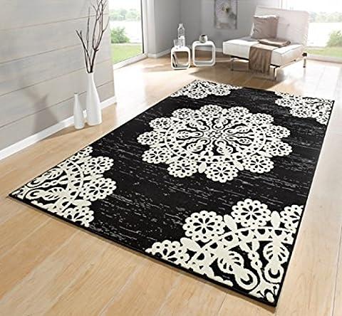Teppich schwarz / beige / moderner Teppich / Lace / Blumenmuster / Wohnzimmerteppich / Wohnzimmerteppich 160 x 230 cm